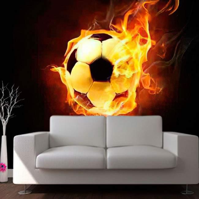 Ταπετσαρία τοίχου Πύρινη μπάλα ποδοσφαίρου