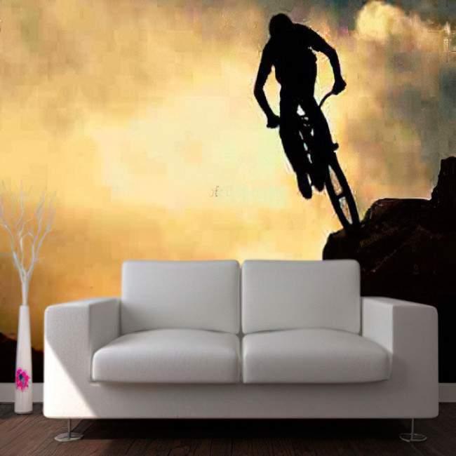 Ταπετσαρία τοίχου Ποδηλάτης στο βουνό,
