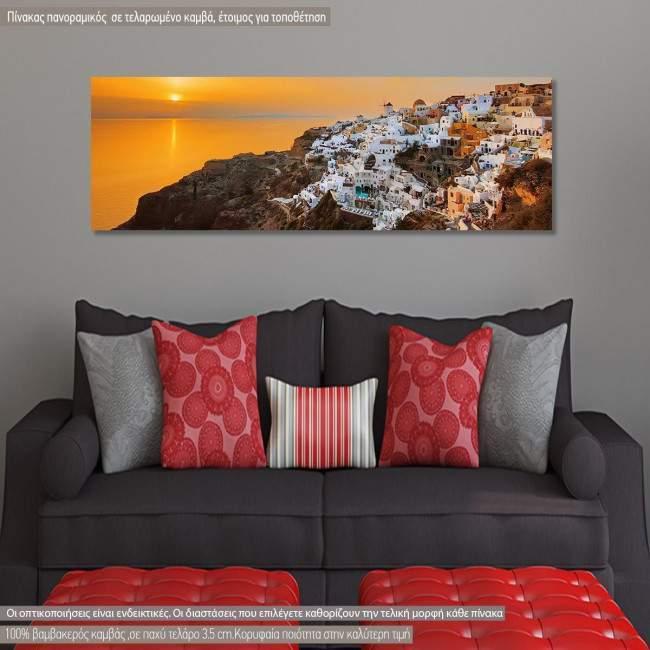 Πίνακας σε καμβά Oia at sunset, πανοραμικός