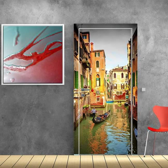 Door sticker Gondoliier, Venice