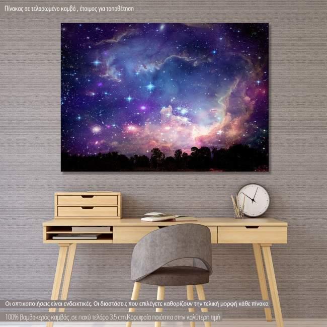 Πίνακας σε καμβά Galaxy on night cloud