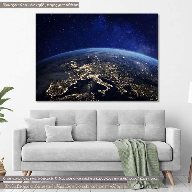Πίνακας σε καμβά Europe at night from space