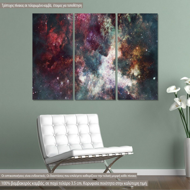 Canvas print Colorful starry night sky,  3 panels