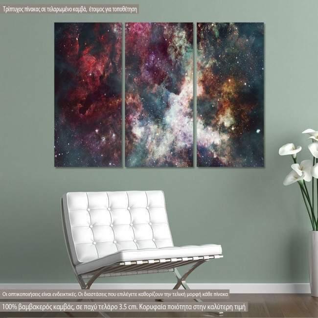 Πίνακας σε καμβά Colorful starry night sky, τρίπτυχος