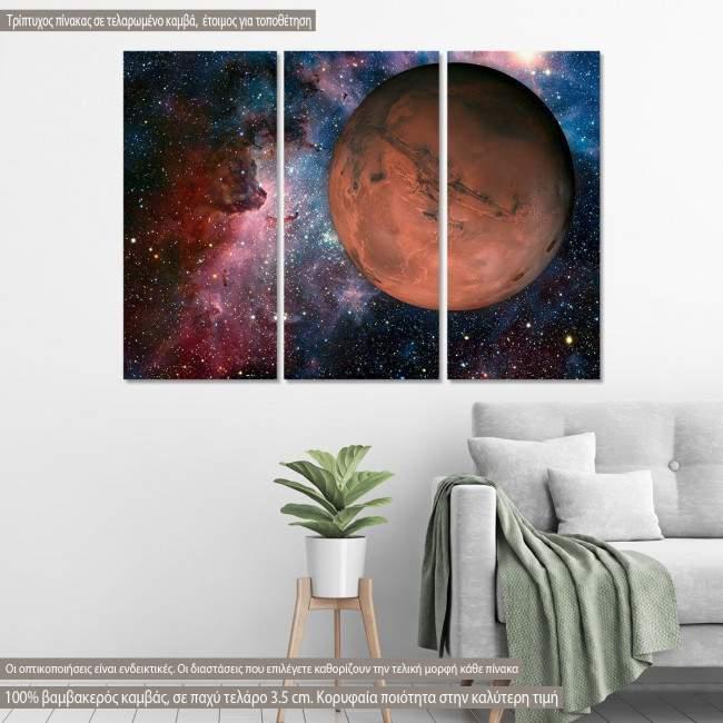 Πίνακας σε καμβά Solar System Mars, τρίπτυχος