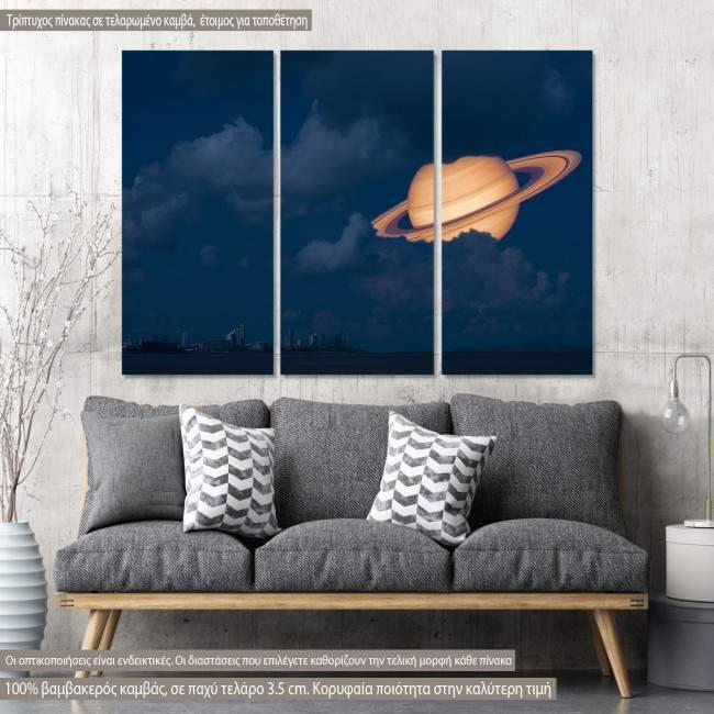 Πίνακας σε καμβά Saturn near Earth, τρίπτυχος