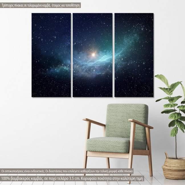 Πίνακας σε καμβά Star field and nebula in outer space, τρίπτυχος