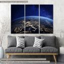 Πίνακας σε καμβά Europe at night from space, τρίπτυχος
