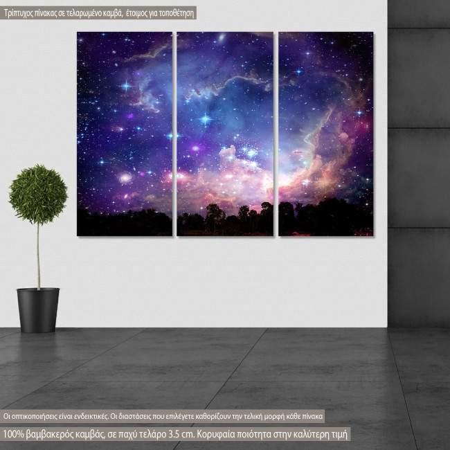 Πίνακας σε καμβά Galaxy on night cloud, τρίπτυχος
