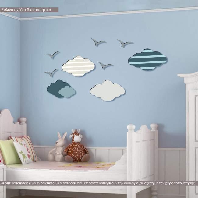 Σύννεφα και πουλιά ξύλινες φιγούρες διακοσμητικές