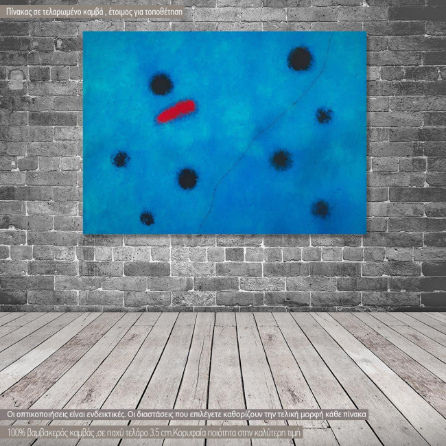 Canvas print Blue I reart, (original by J. Miro), reproduction