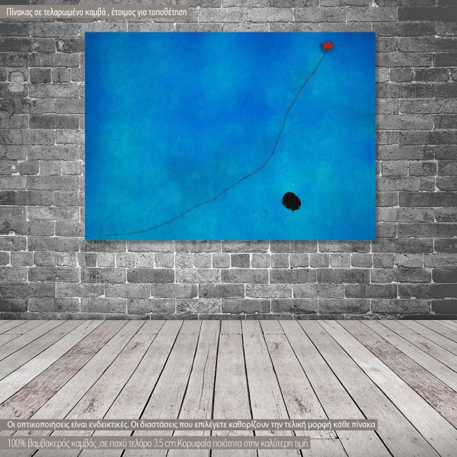 Canvas print Blue III reart, (original by J. Miro), reproduction