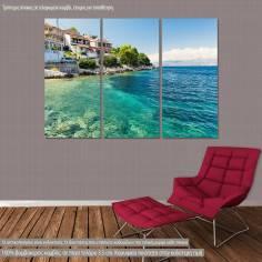 Πίνακας σε καμβά Κέρκυρα, Crystal clear water in Corfu island, τρίπτυχος