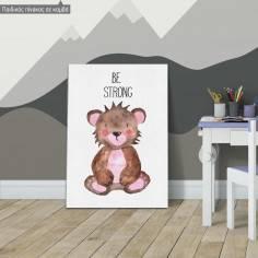 Πίνακας παιδικός σε καμβά Woodland animals, Αρκουδάκι ζωγραφιστό