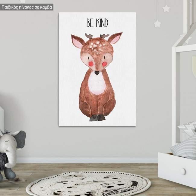 Πίνακας παιδικός σε καμβά Woodland animals, Ελαφάκι ζωγραφιστό