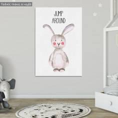 Πίνακας παιδικός σε καμβά Woodland animals, Λαγουδάκι ζωγραφιστό