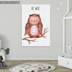 Woodland animals, Κουκουβάγια ζωγραφιστή, παιδικός - βρεφικός πίνακας σε καμβά, 6