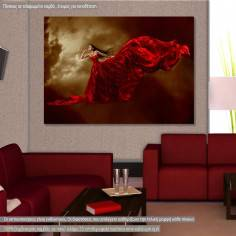 Canvas print Woman in red dress horizontal