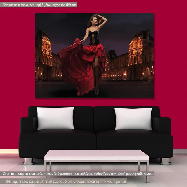 Πίνακας σε καμβά Deep red lady