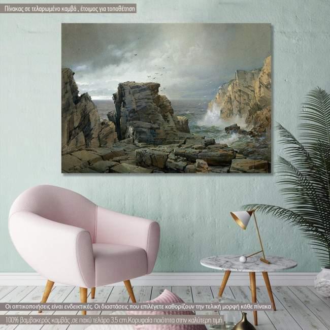 Canvas print A rocky coast, Richards W. T.
