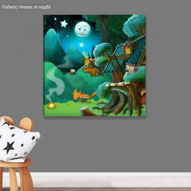 Πίνακας παιδικός σε καμβά Ένα βράδυ στο δάσος