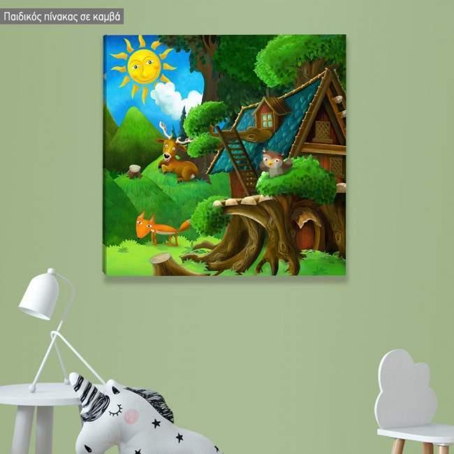 Πίνακας παιδικός σε καμβά Μια μέρα στο δάσος