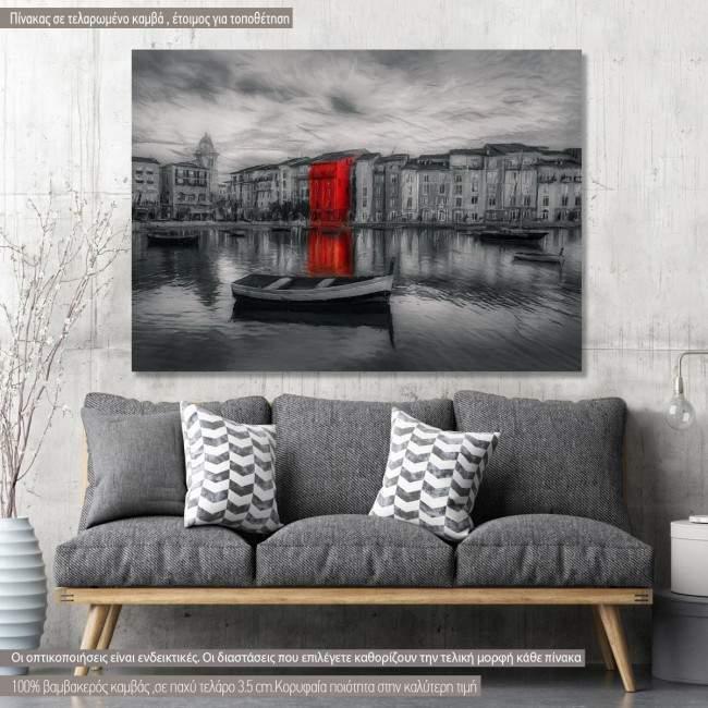 Πίνακας σε καμβά Red on gray