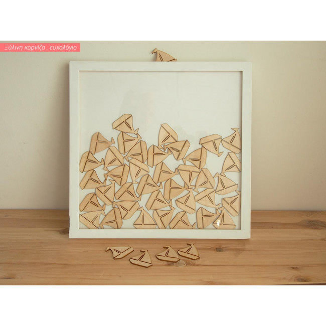 Frame with little boats wooden wishes board