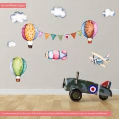 Αυτοκόλλητα τοίχου παιδικά Αερόστατα, σύννεφα, αεροπλάνο