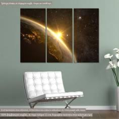 Πίνακας σε καμβά Planet Earth with a spectacular sunrise, τρίπτυχος