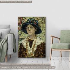 Canvas print Portrait of a girl with flowers, Prendergast M. B.