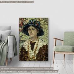 Πίνακας ζωγραφικής Portrait of a girl with flowers, Prendergast M. B., αντίγραφο σε καμβά