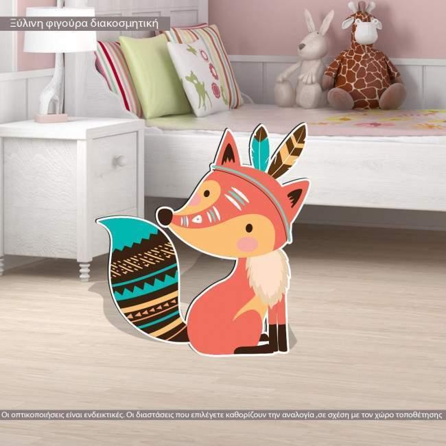 Wooden figure printed Tribal fox