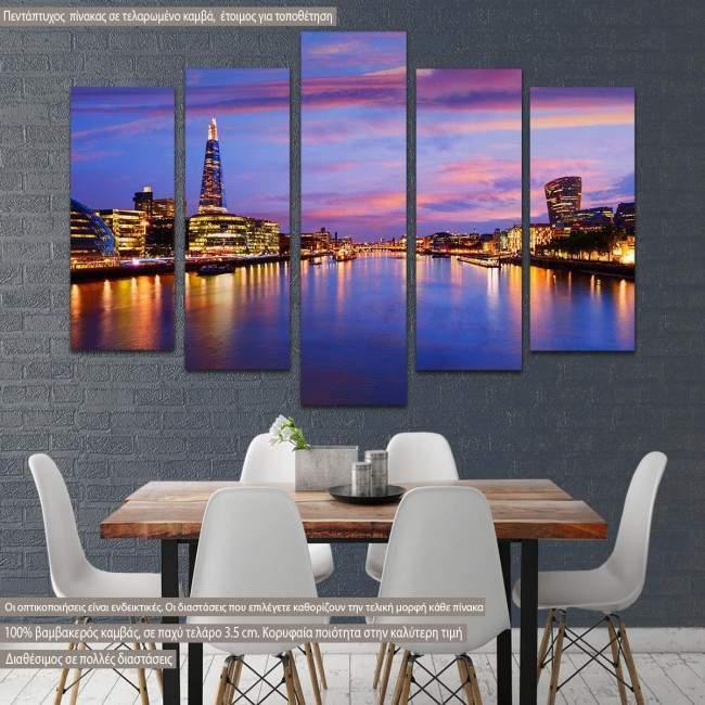 Πίνακας σε καμβά London skyline sunset City Hall, πεντάπτυχος