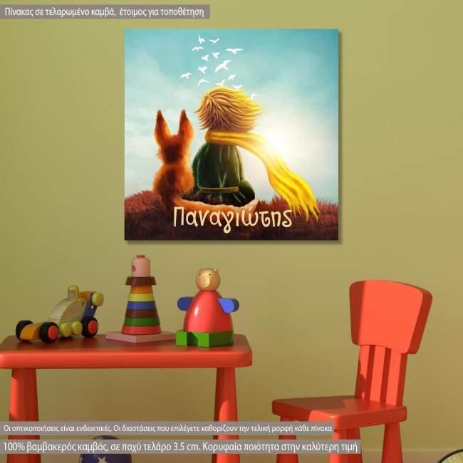 Πίνακας παιδικός σε καμβά Little prince and fox square