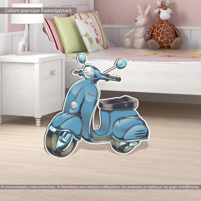 Wooden figure printed  Vespa vintage blue