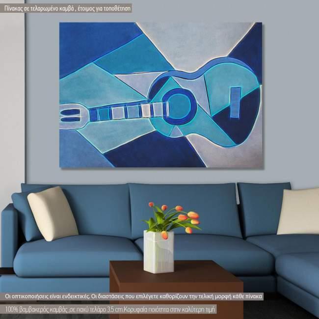 Blue guitar reart (original by P. Picasso) canvas print
