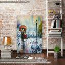 Πίνακας σε καμβά ζευγάρι στη βροχή, Enamoured couple in the rain
