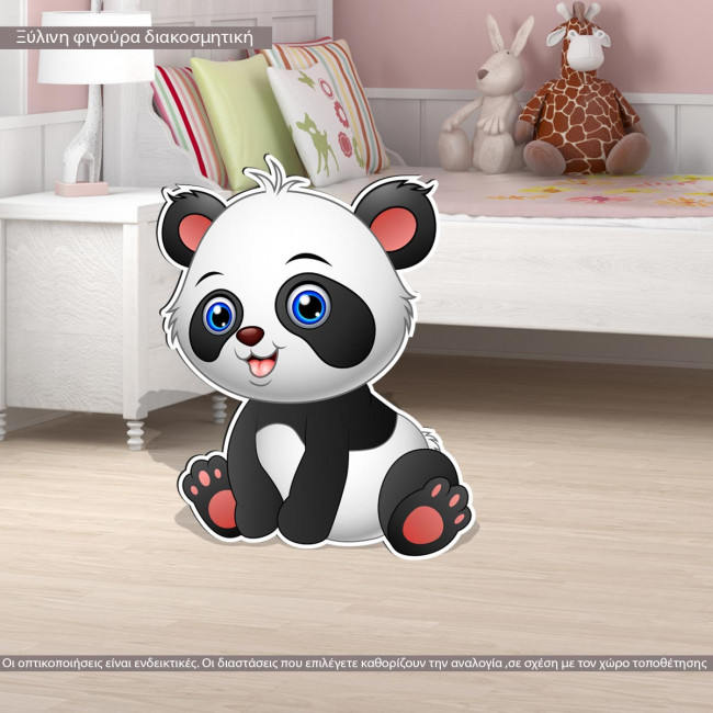 Baby panda wooden figure printed, panta