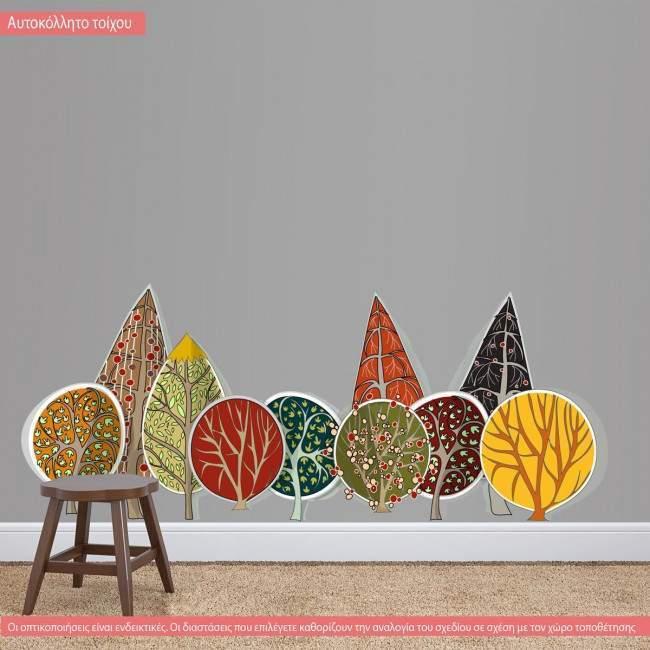 Αυτοκόλλητο τοίχου Συστάδα απο πολύχρωμα δέντρα. My trees