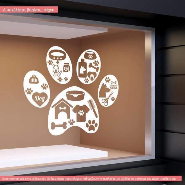 Wall sticker pet shop Dog paw