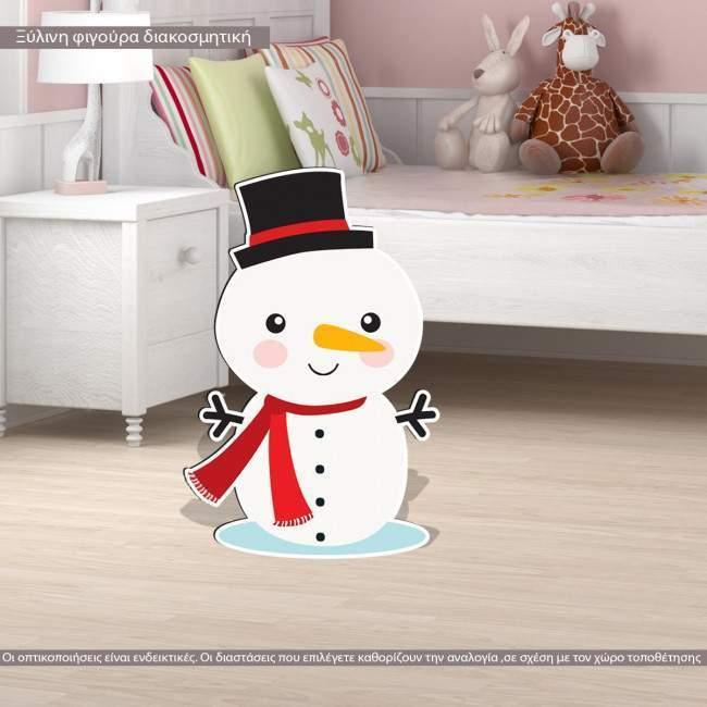 Wooden figure printed Snowman