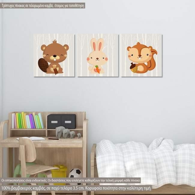Πίνακας παιδικός σε καμβά Ζωάκια του Δάσους,  σκιουράκι, λαγουδάκι και κάστορα, τρίπτυχος