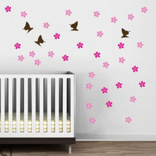 Kids wall stickers Butterfly Blowing Cherry dark brown, additional stickers