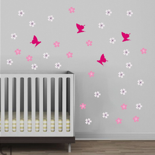 Kids wall stickers Butterfly Blowing Cherry white, additional  illustration