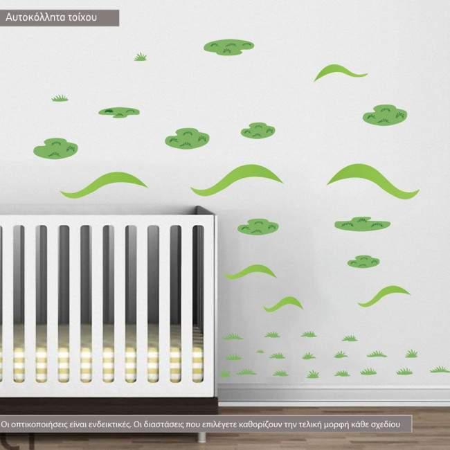 Αυτοκόλλητα τοίχου παιδικά Λοφάκια  πράσινα νησάκια και χορτάρι