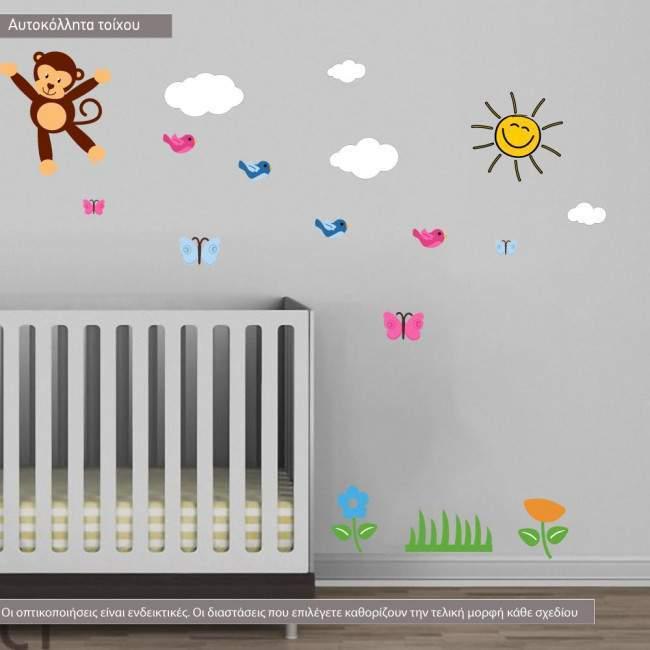 Αυτοκόλλητα τοίχου παιδικά Jungle time, επιπλέον σχέδια