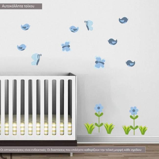 Αυτοκόλλητα τοίχου παιδικά Blue safari, επιπλέον σχέδια