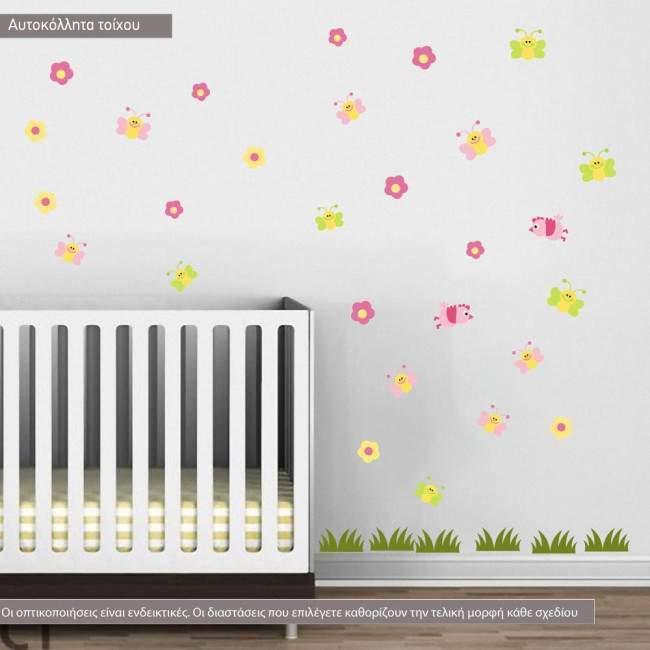 Αυτοκόλλητα τοίχου παιδικά Πεταλούδες , πουλάκια,  λουλούδια και γρασίδι