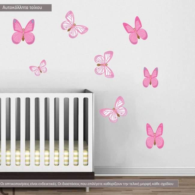Αυτοκόλλητα τοίχου παιδικά Πεταλούδες ροζ σε μεγάλο μέγεθος